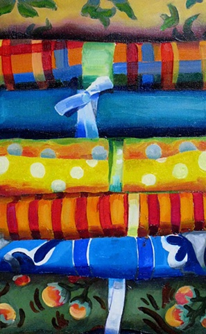 watercolour painting of coloured fabric by brittney lintick canadian artist textile art colour interior deisgn decor