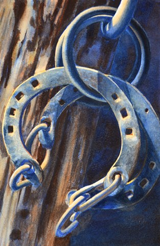 watercolour watercolor horseshoe western painting