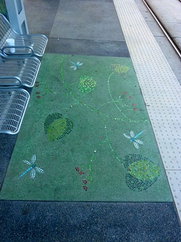 Moody Park Light rail Station in Houston, Texas.  Lithocrete and lithomosaic  rug on the platform.