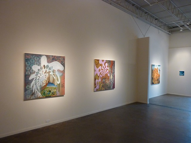"The Architecture of Social Hope- Oil Painting on Board & Canvas - 48"" x 48"" & ""Mugwort Zone"" - Egg Tempera and Oil on Canvas on Board - 48"" x 48""  & Sol  Invictus - Oil Painting on Board & Canvas - 48"" x 48""."