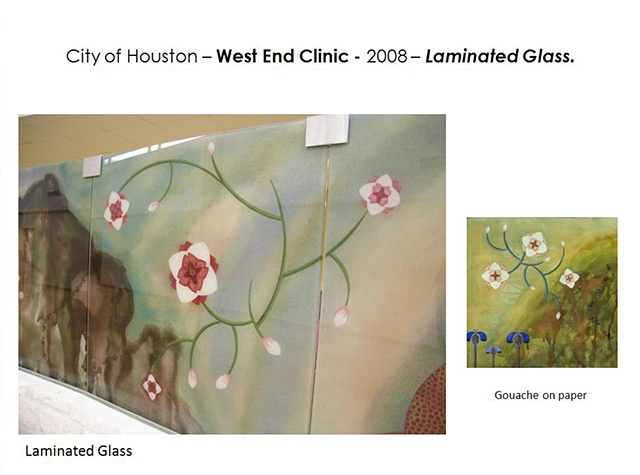Good Neighbor Healthcare Center. Houston, Texas.  Partition Wall - 2008. Pocket wall with Laminated glass panels.