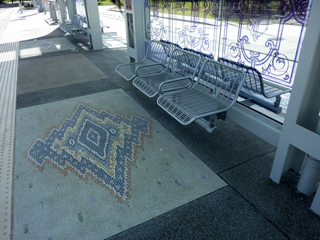 Cavalcade Light Rail Station in Houston, Texas. Lithocrete and Lithomosaic  rug on the platform.