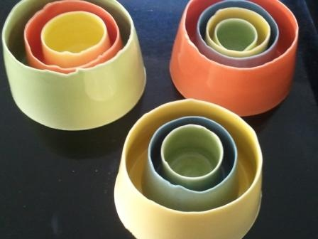 nesting vessels, high fired porcelain, bright colours