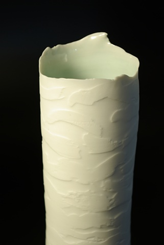 High fired Porcelain, wheel-thrown vessel, polished, wax resist, Southern Ice