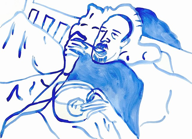 Louis CK Eating Ice Cream in Bed (SOLD)