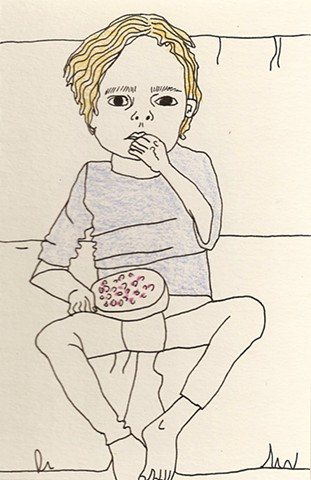 Boy Eating Berries on the Sofa (SOLD)