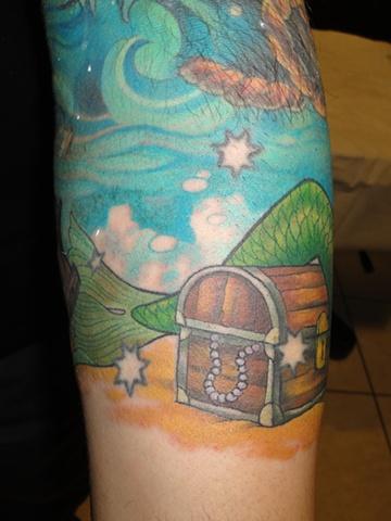 Mermaid Tresure Chest Tattoo
