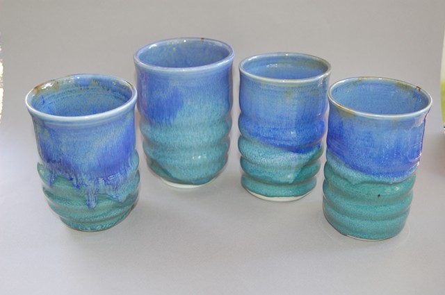 LCF Blue & Green Porcelain Cups