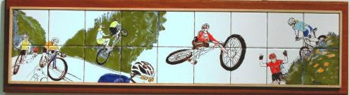 """ Racing Bicycles""  Tile mural, glazed and mounted"