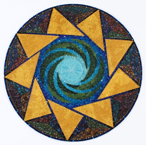 Glass mosaic mandala crop circle glass frit fused glass