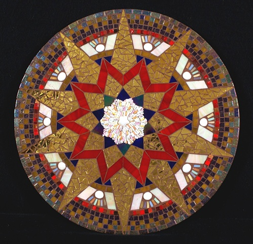Mosaic mandala Smalti Persian mirror