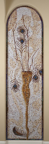 Mosaic installation commission peacock feathers