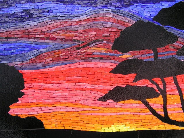 Smalti glass mosaic landscape Australia sunset
