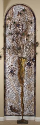 Mosaic installation commission peacock feather vase