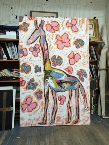 Studio: Long Island City, NY Giraffe Painting for WHIT Clothing