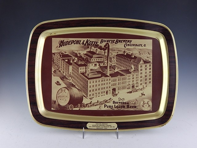 Hudepohl Brewing 100 anniversary commemorative printed tray