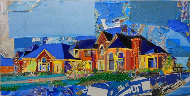 mcmansion collage painting recycle waste trash garbage rich poor economy urban sprawl subdivisions suburb natural resources