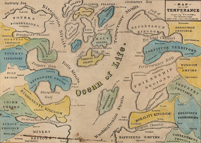 Temperance Map, 1846, William Meacham Murrell