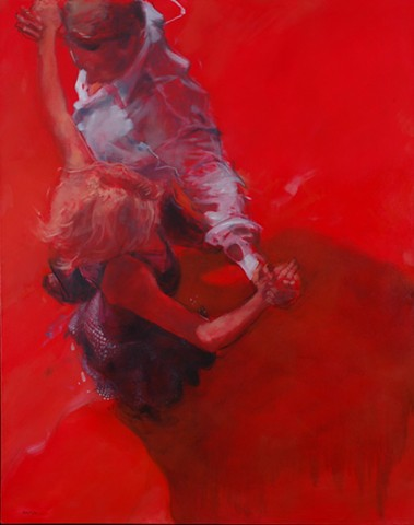 Allen Bentley painting.  Allen Bentley dance painting.  Red.