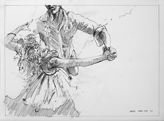Allen Bentley dance drawing. Charcoal drawing. Ballroom dancing