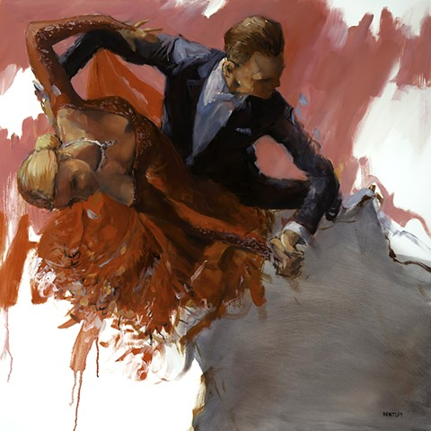Allen Bentley dance painting. Ballroom dancing red