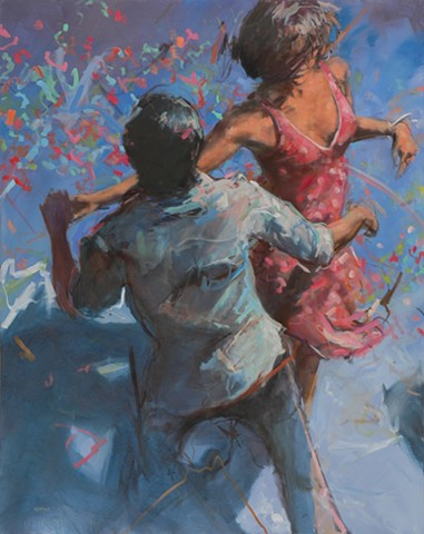 Allen Bentley painting.  Allen Bentley dance painting.