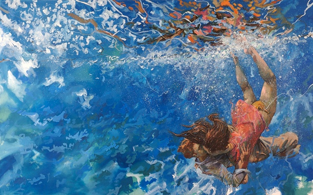 Allen Bentley painting.  Underwater painting. Reflections.