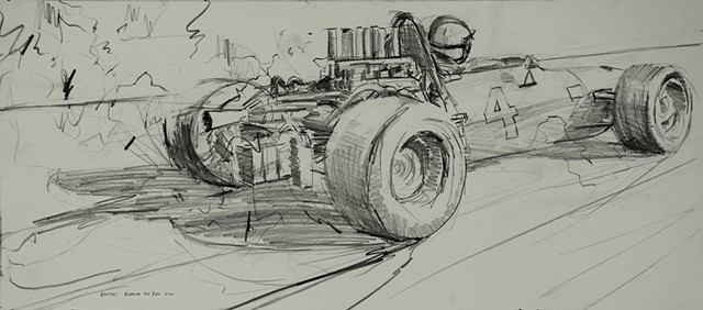 race car drawing allen bentley vintage
