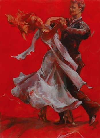 Allen Bentley painting.  Allen Bentley dance painting.  Red. #dwts