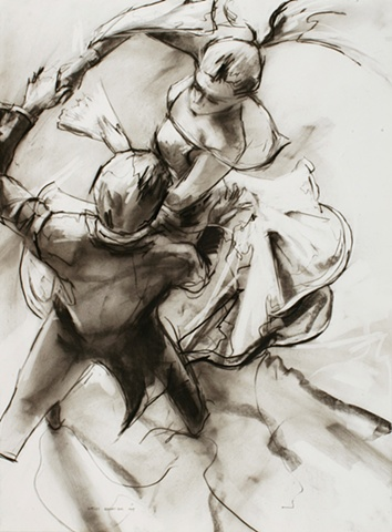 Allen Bentley drawing.  Dance drawing. Charcoal.