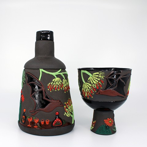 Pollinator Series: Bat and Agave Tequila Flask and Margarita Cup