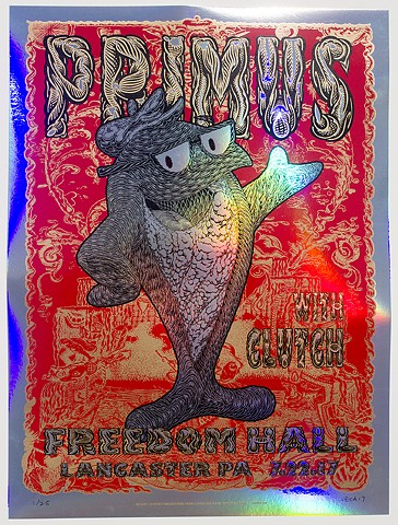 Primus Tour Poster: Fish On (Variant: Rainbow Foil)  Commissioned by Primus exclusively for their July 22nd, 2017 performance at Freedom Hall in Lancaster, PA.  Variant: Rainbow Foil  Four color screen print on rainbow foil paper  Signed & numbered  Limit