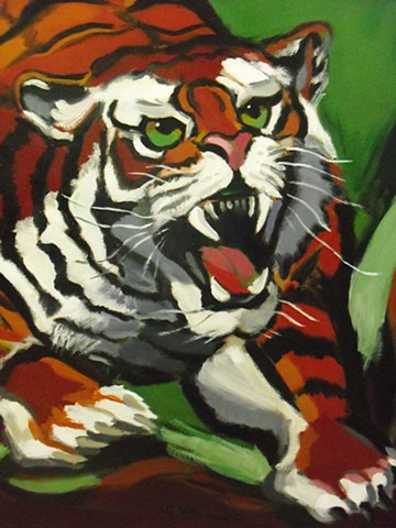 Detail close up from Tiger Vertigo painting