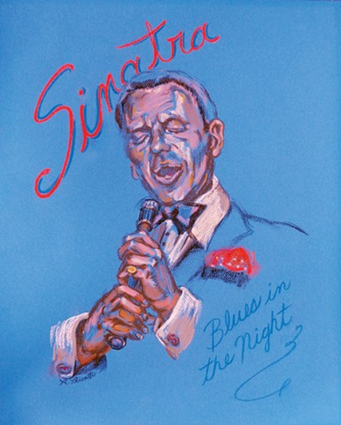 "Frank Sinatra 100 Birthday Celebration Tresorie Gallery Hoboken, NJ Pastel 16"" × 20 """