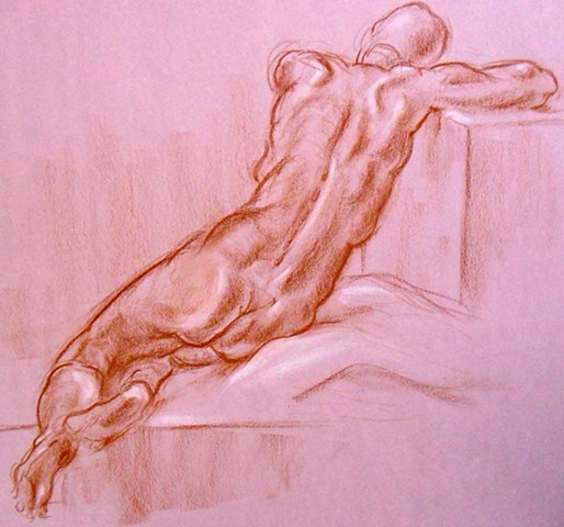 Life Drawing Male Nude Back