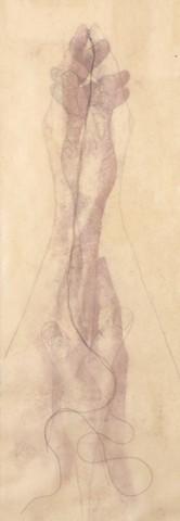 trace monotype, encaustic wax, thread