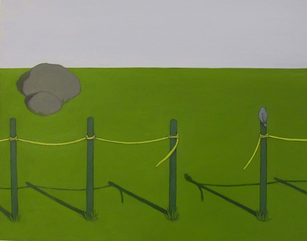 Fenceposts with Yellow Tape (Sold)