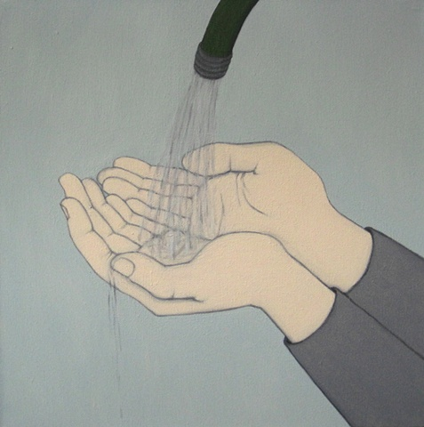 Hands Holding Water from Hose