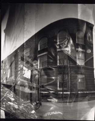 Self-portrait, pinhole camera double exposure