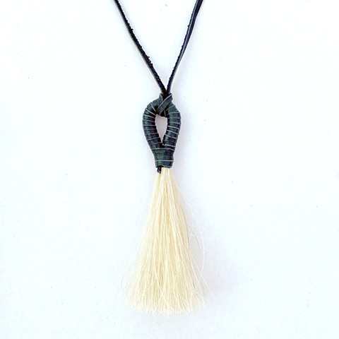Black Leather Wrapped Horsehair Tassel Necklace