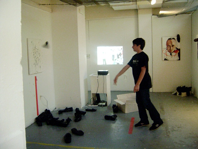 Shoe throwing incidents in contemporary art.