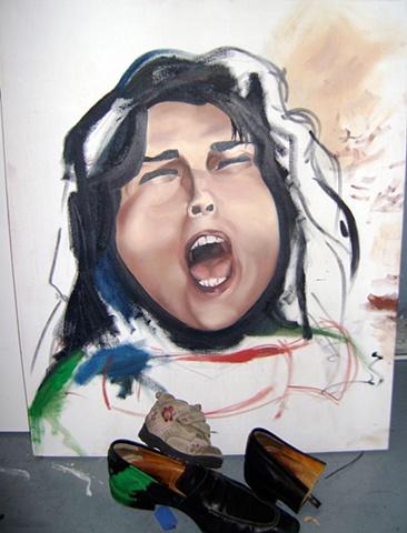 Shoe throwing idea in contemporary art.