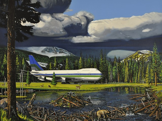 Jet painting by Portland painter Leiv Fagereng