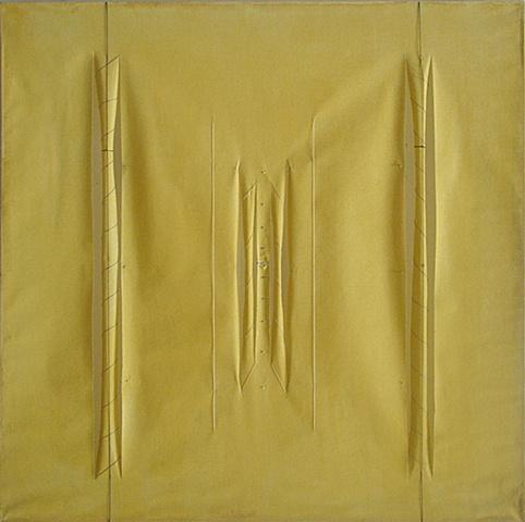 yellow minimalist architectural thread columns perspective cloth
