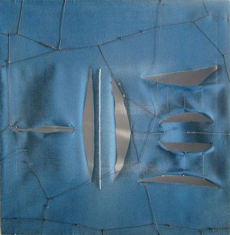 blue minimalist sculpture abstract