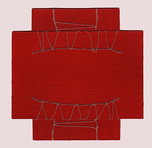 abstract spiritual red thread paint