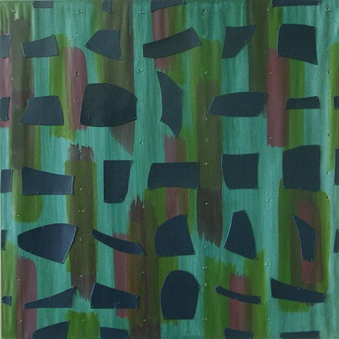 sealike purple green red waves sewing abstraction cut-outs painting bushmarks Franz Kline