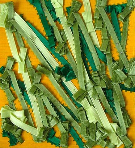 musical rhythm ribbon baroque abstract green yellow thread