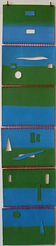 cut-outs abstract blue green red landscape
