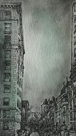 New York city street new the Met pen and ink drawing